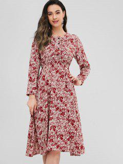 Chiffon Floral Long Sleeve A Line Dress - Multi S