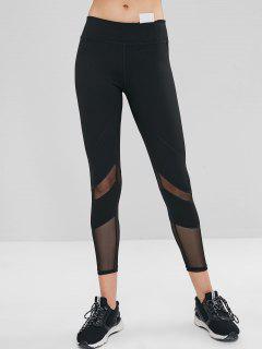 Mesh Insert Hidden Pocket Gym Leggings - Black M