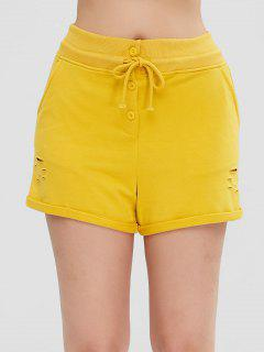Distressed Pocket Rolled Shorts - Yellow L