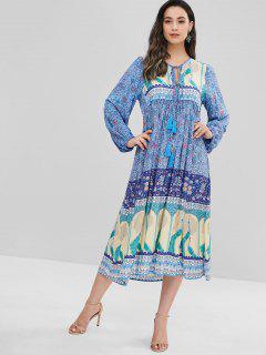 Robe Imprimée Paon à Fleurs Et Pompons - Bleu Ciel Léger  S
