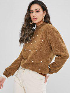 Mock Neck Fluffy Sweatshirt With Faux Pearls - Brown
