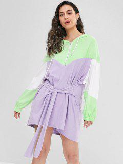 Front Tied Color Block Mini Dress - Purple