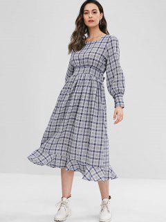 Long Sleeve Plaid Flounce Midi Dress - Multi S