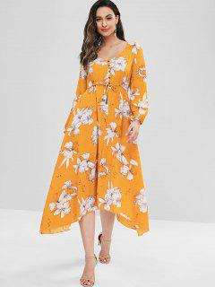 Floral Button Embellished V Neck Dress - Bright Yellow L