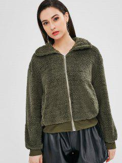 Zip Front Faux Fur Coat - Army Green M