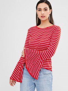 Camiseta Con Manga De Llamarada A Rayas - Rojo M