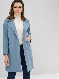 Manteau Avec Poche à Manches Raglan Avec Ceinture - Bleu-gris Xl