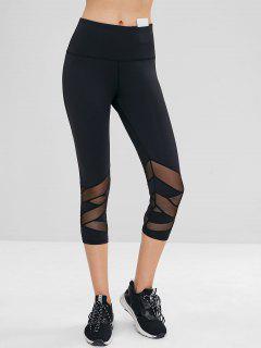 Mesh Insert Hidden Pocket Crop Gym Leggings - Black L