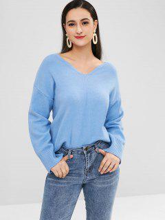 Drop Shoulder V Neck Plain Sweater - Sky Blue