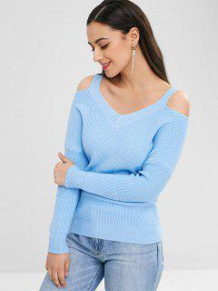 Cut Out Drop Shoulder Sweater - Day Sky Blue