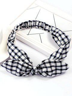 Checked Pattern Bowknot Elastic Hairband - Black