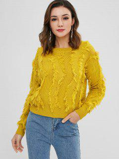 Pullover Frayed Fringes Sweater - Golden Brown