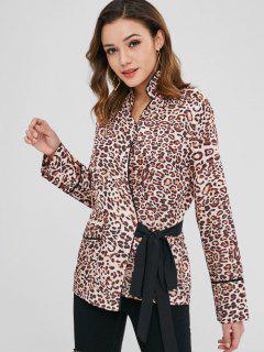 Leopard Print Longline Wickelbluse - Leopard M