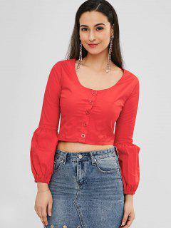 Rundhalsausschnitt Plain Crop Bluse - Rot M