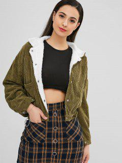 Corduroy Snap Button Sheepskin Jacket - Army Green