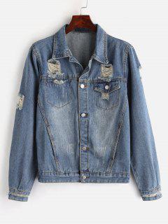 Zippered Sleeve Ripped Denim Jacket - Denim Blue S