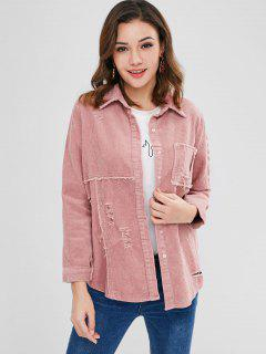 Distressed Corduroy Jacket - Pink