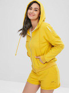 Distressed Pocket Hooded Jacket - Yellow M