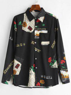 Newspaper Rose Print Casual Shirt - Black 2xl