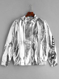 Costume Pockets Shiny Leather Jacket - Silver Xl