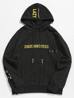 Streetwear Letter Pocket Hoodie - Black L
