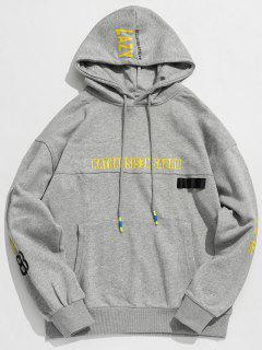 Streetwear Letter Pocket Hoodie - Gray Xl