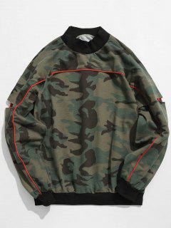 Sleeve Cut Out Patch Camo Sweatshirt - Acu Camouflage Xl