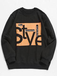 Chest Letter Print Graphic Sweatshirt - Black M