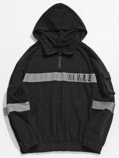 Quarter Zip Reflective Stripe Patch Hoodie - Black 2xl