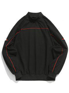 Sweat-shirt Patch Contrasté à Manches Découpées - Noir M