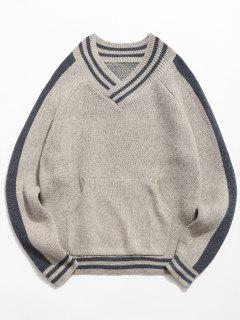 V Neck Pocket Striped Knitted Sweater - Light Gray S