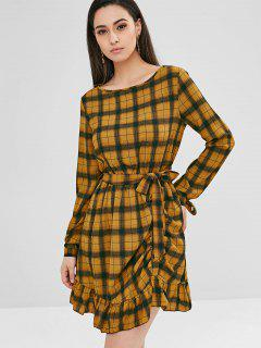 ZAFUL Ruffles Plaid Belted Asymmetric Dress - Orange Gold L