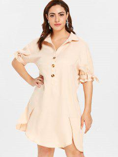 ZAFUL Plus Size Shift Buttoned Shirt Dress - Blanched Almond 1x