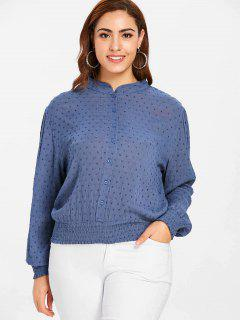ZAFUL Plus Size Smoked Trim Bluse - Schiefer Blau L