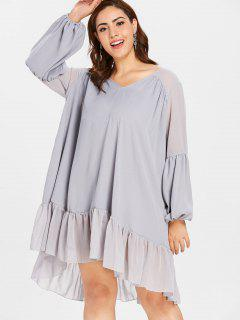 ZAFUL Plus Size Lantern Sleeve Flounce Dress - Blue Gray 2x