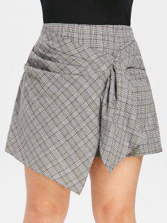 ZAFUL Plus Size Asymmetrische Geraffte Plaid Shorts - Multi 2x