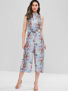 Backless Floral Jumpsuit - Multi L