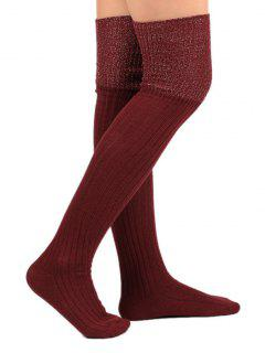 Color Block Thigh High Socks - Red Wine