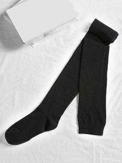 Solid Color Cotton Thigh High Socks - Black