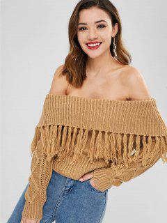 Off The Shoulder Sweater With Tassel - Light Brown