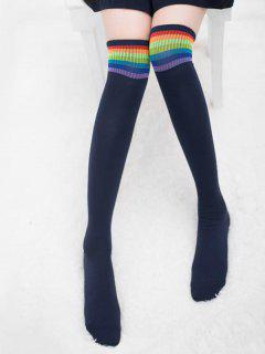 Winter Colored Striped Thigh High Socks - Cadetblue