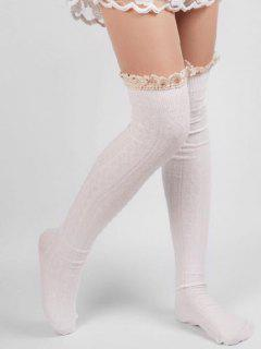 Solid Color Lace Thigh Stockings - White
