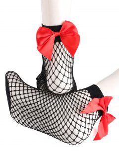 Bowknot Back Mesh Ankle Socks - Red
