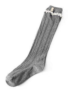 Elegant Solid Color Lace Thigh Stocking - Cuirassé Gris