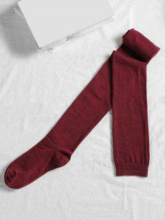 Solid Color Cotton Thigh High Socks - Red Wine