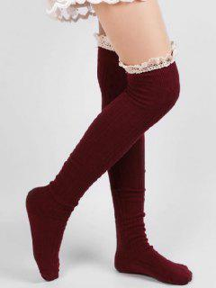 Solid Color Lace Thigh Stockings - Red Wine