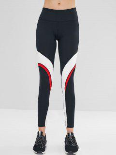 ZAFUL Color Block Wide Waistband Leggings - Black M