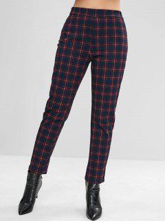Straight Plaid Pants - Dark Slate Blue M
