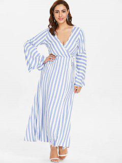 ZAFUL Plus Size Flare Sleeve Wrap Striped Dress - Light Blue L