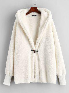 ZAFUL Faux Shearling Winter Coat - Warm White M